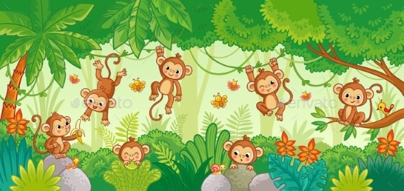 Vector Set with Monkey in Various Poses on Jungle - Animals Characters