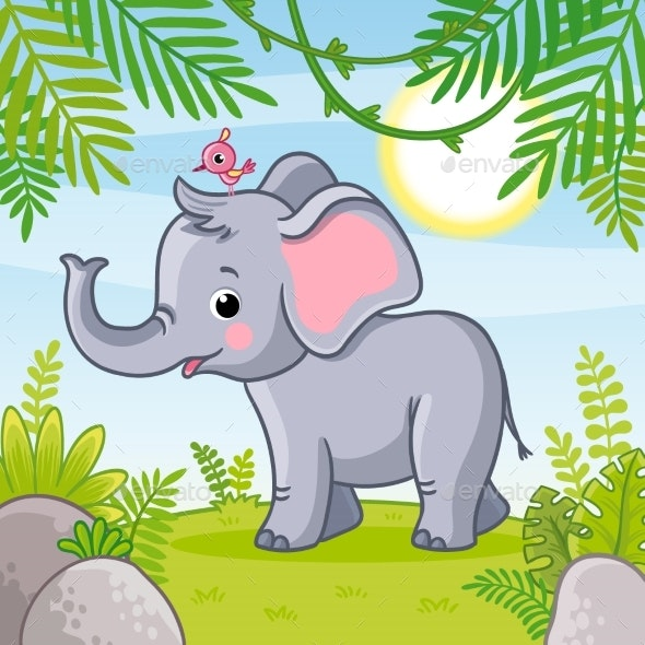 Baby Elephant Stands in a Clearing - Animals Characters