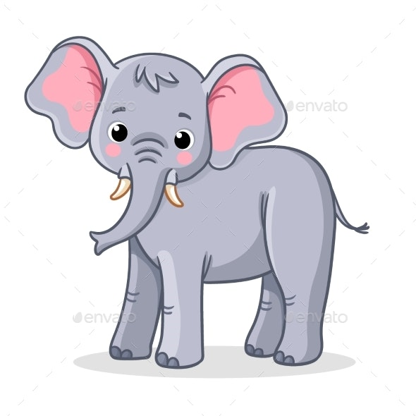 Elephant Stands on a White Background - Animals Characters
