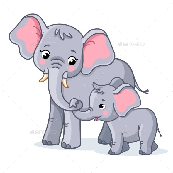 Family of Elephants on a White Background - Animals Characters