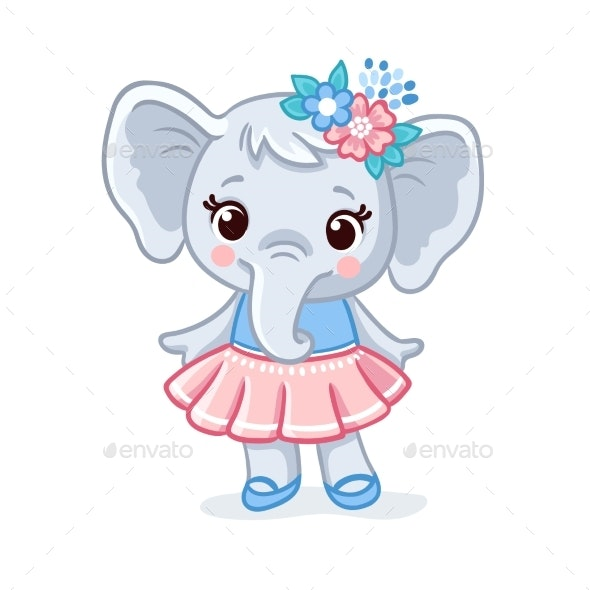 Baby Elephant in a Dress Vector Animal - Animals Characters