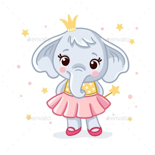 Baby Elephant in a Dress Vector - Animals Characters