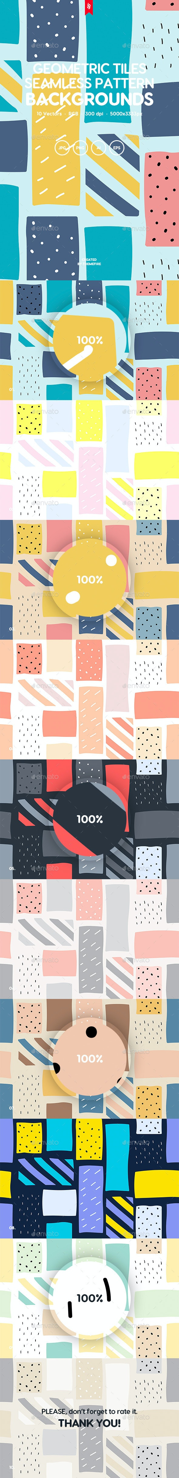 Abstract Doodle Geometric Tiles Seamless Patterns - Patterns Backgrounds