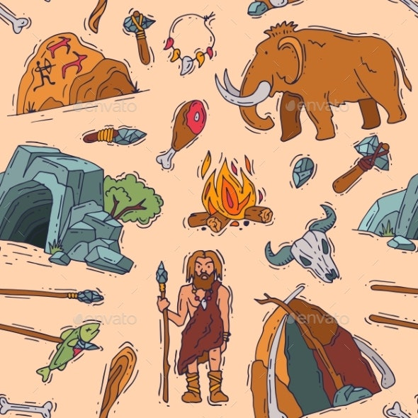 Primitive People Vector Primeval Neanderthal - Animals Characters