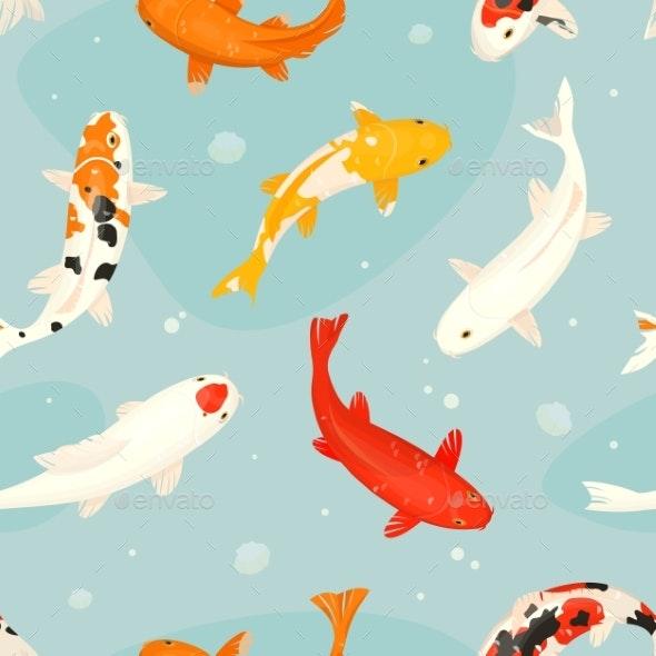 Koi Fish Vector Illustration Japanese Carp - Animals Characters