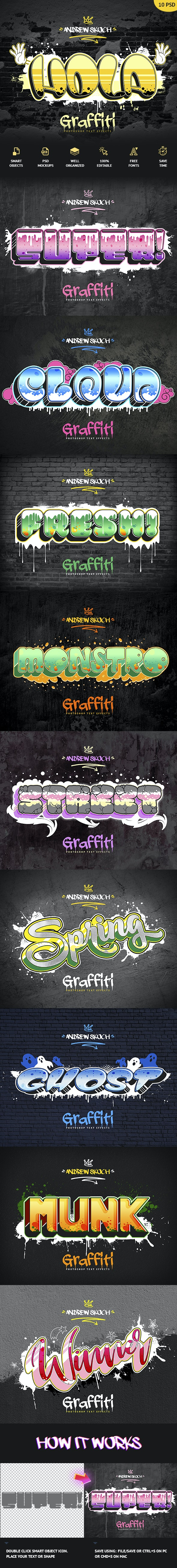 Graffiti Text Effects - 10 PSD - vol 3 - Text Effects Actions