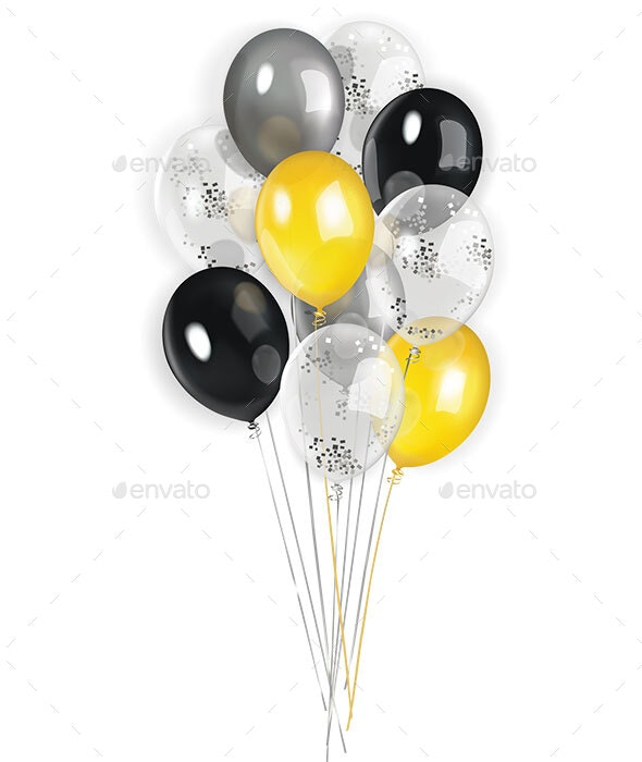 Black Yellow and Silver Transparent Balloons - Man-made Objects Objects