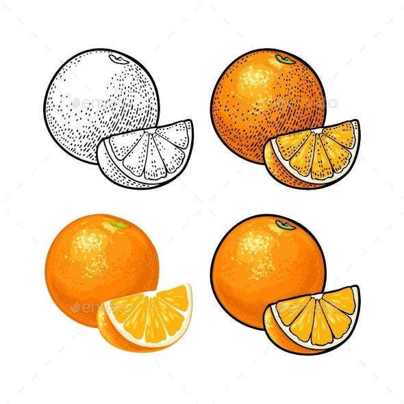 Whole and Slice Orange - Food Objects