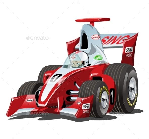 Vector Cartoon Formula 1 Race Car Isolated - Man-made Objects Objects
