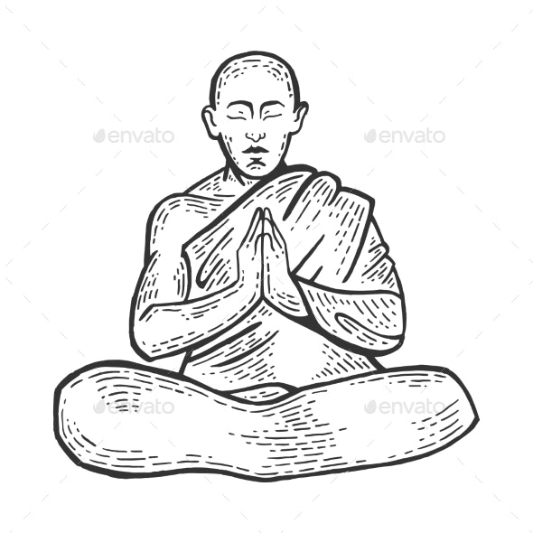 Buddhist Monk Meditating Engraving Vector - Miscellaneous Vectors