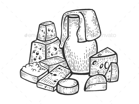 Milk Products Sketch Engraving Vector - Food Objects