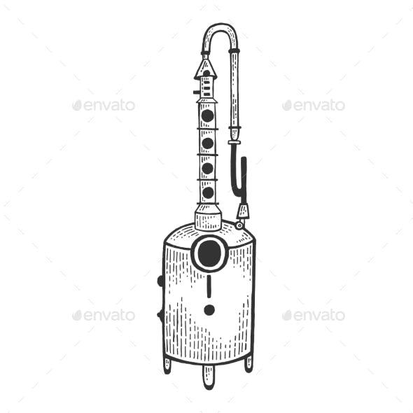 Alcohol Machine Sketch Engraving Vector