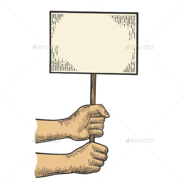 Blank Poster in Hands Sketch Engraving Vector - People Characters
