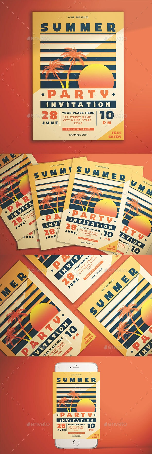 Summer Party Invitation Flyer - Clubs & Parties Events