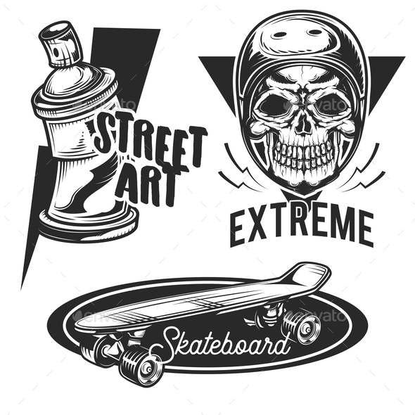 Set of Street Activities Emblems - Sports/Activity Conceptual