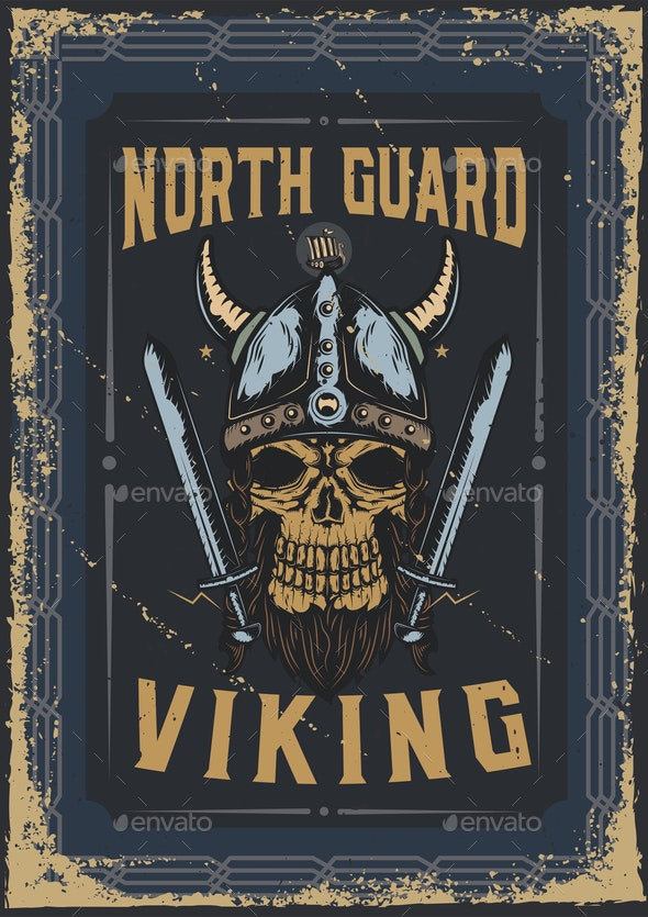 Poster Design with Viking's Skull - Miscellaneous Vectors