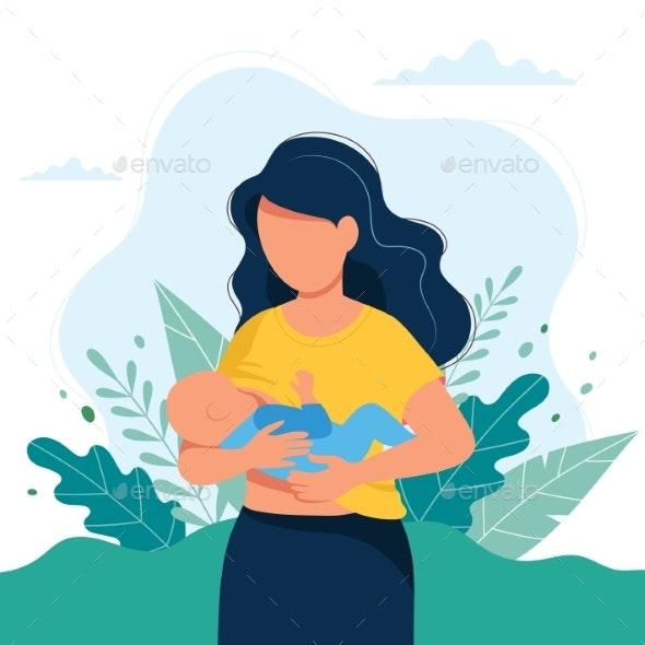 Breastfeeding Illustration - People Characters