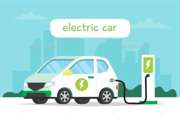 Electric Car Charging with City Background - Man-made Objects Objects