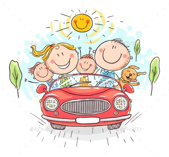 Happy Family Travelling By Car Vacation Trip - Travel Conceptual