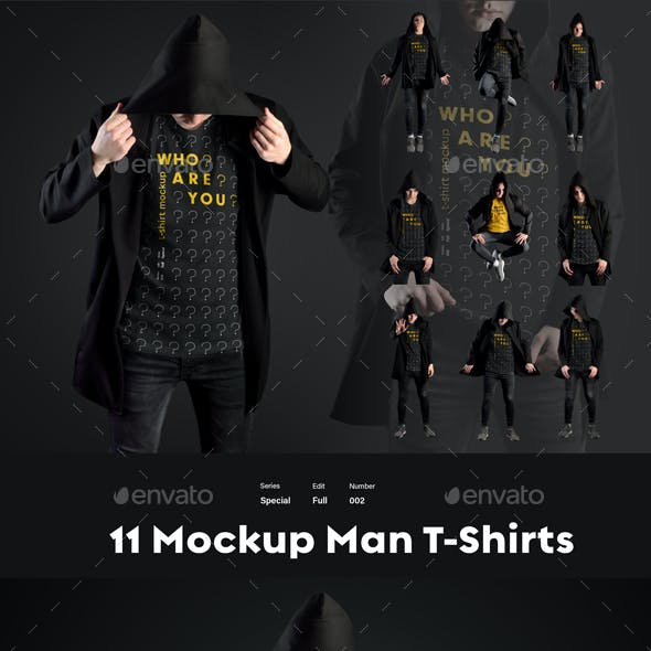 11 Mockups T-Shirts in a Black Hood