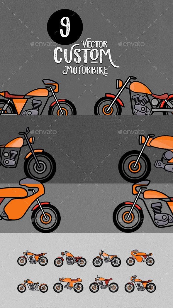 9 Custom Motorbike Vectors - Man-made Objects Objects