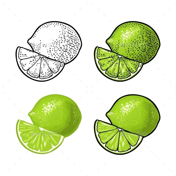 Lime Whole and Slice - Food Objects