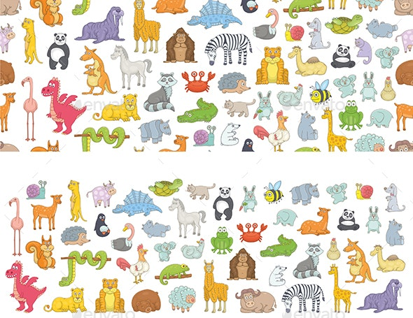Set of Different Animals and Pattern - Animals Characters
