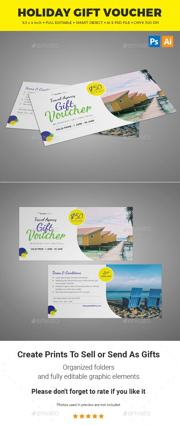 Holiday Gift Voucher - Cards & Invites Print Templates