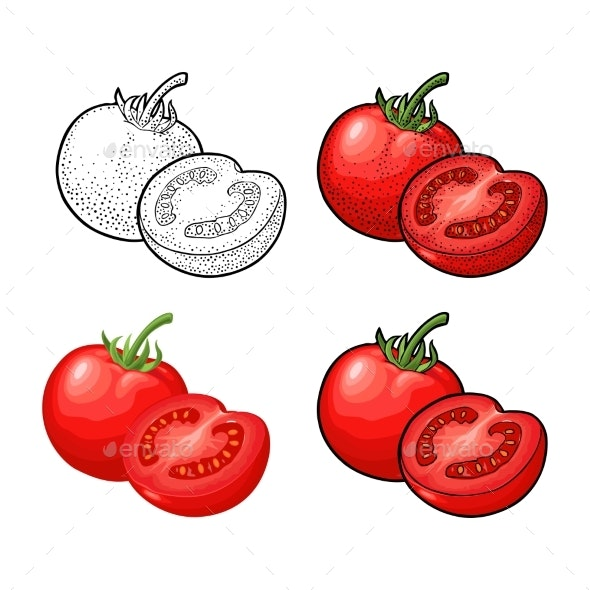 Whole and Half Tomatoes - Food Objects