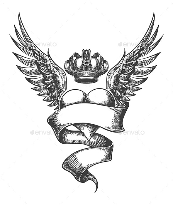 Heart with Crown and Wings Tattoo in Engraving Style - Tattoos Vectors