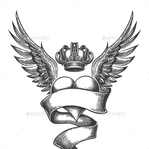 Heart with Crown and Wings Tattoo in Engraving Style