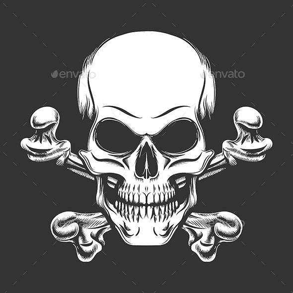 Skull and Crossed Bones Engraving Vector Illustration - Tattoos Vectors