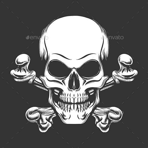 Skull and Crossed Bones Engraving Vector Illustration