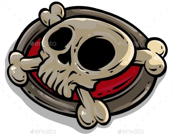 Cartoon Skull with Crossed Bones Vector Icon - Decorative Symbols Decorative