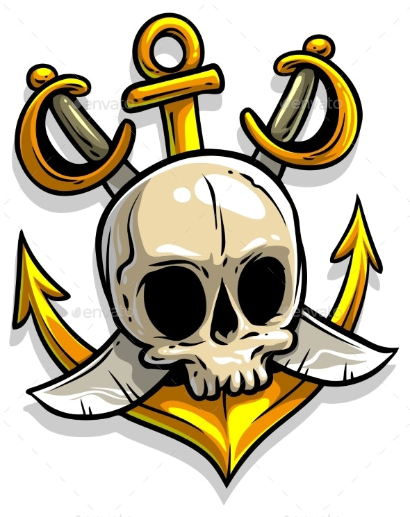 Cartoon Skull with Anchor and Crossed Swords - Man-made Objects Objects