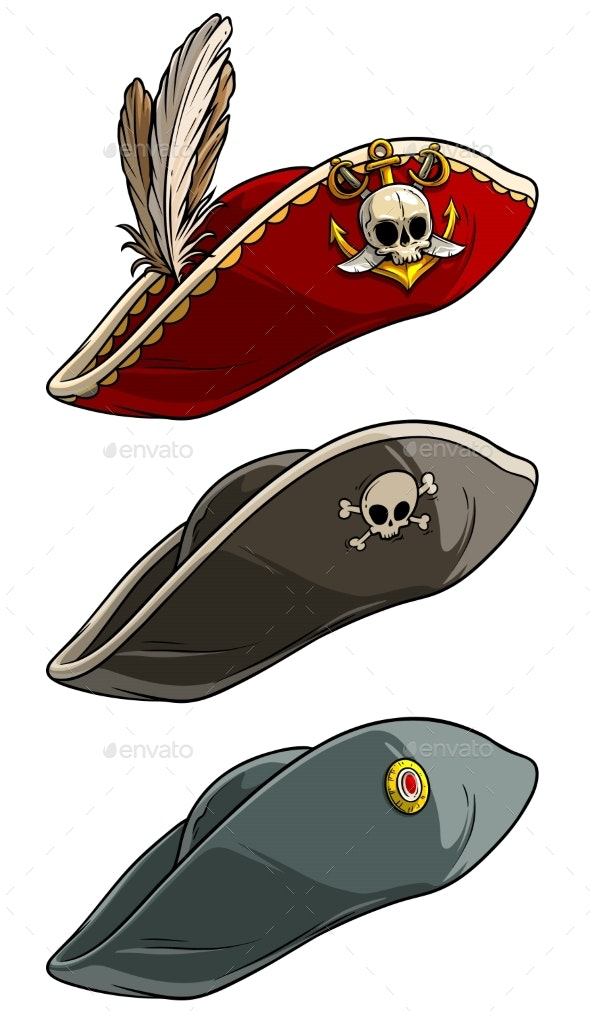 Cartoon Tricorne Pirate Hat with Skull and Feather - Man-made Objects Objects