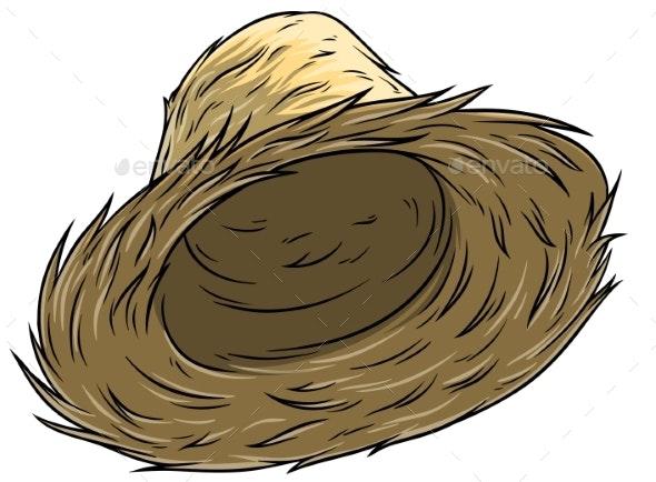 Cartoon Straw Farmer Hat Vector Icon - Man-made Objects Objects