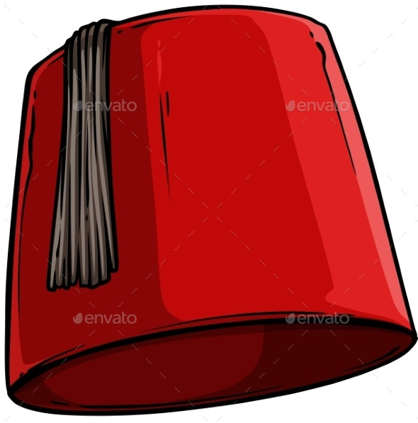 Cartoon Red Turkish Hat Fez with Black Tassel - Man-made Objects Objects