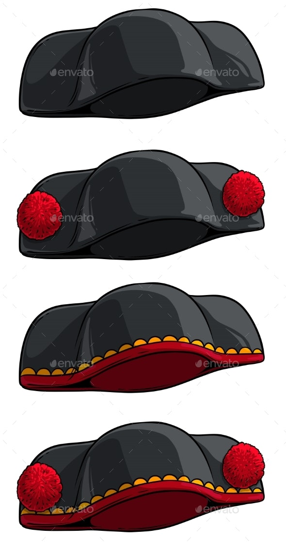 Cartoon Black Toreador or Matador Hat Vector Icon - Man-made Objects Objects