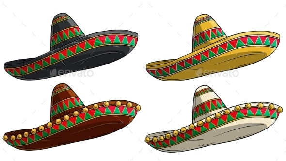 Cartoon Traditional Mexican Hat Sombrero Vector - Man-made Objects Objects