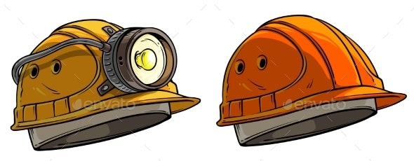Cartoon Miner Protective Helmet with Flashlight - Man-made Objects Objects