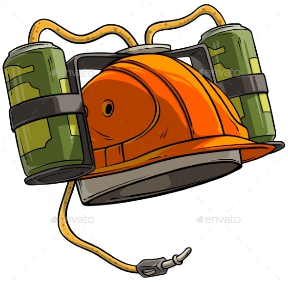 Cartoon Orange Drinking Beer Helmet with Bottles - Man-made Objects Objects