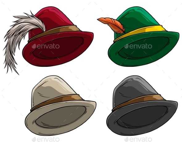 Cartoon Bavarian Traditional Hat with Feather - Man-made Objects Objects