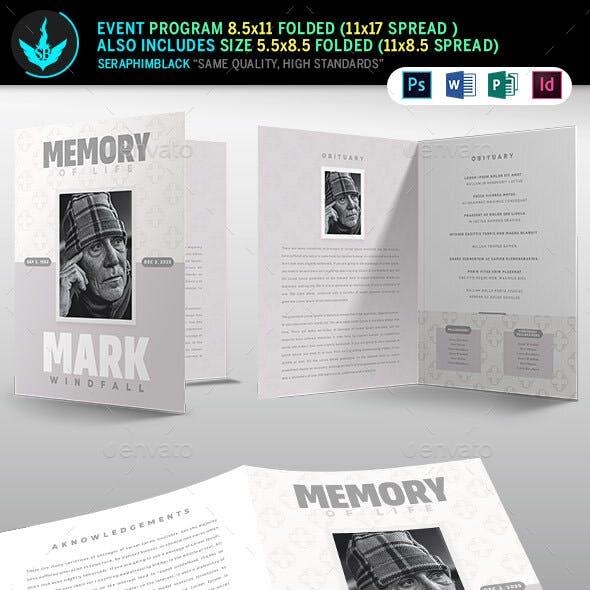 Simple Grey Bi-Fold Funeral Program Template