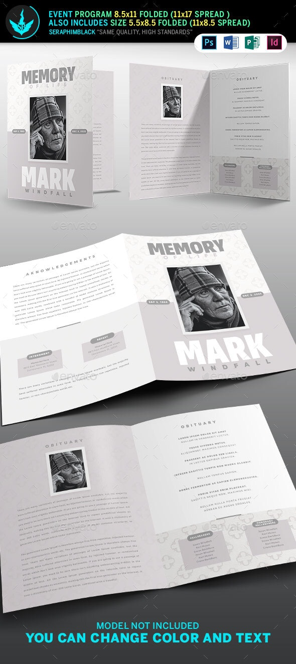 Simple Grey Bi-Fold Funeral Program Template - Informational Brochures