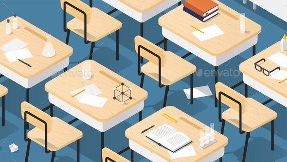 School Classroom Isometric Illustration - Miscellaneous Vectors