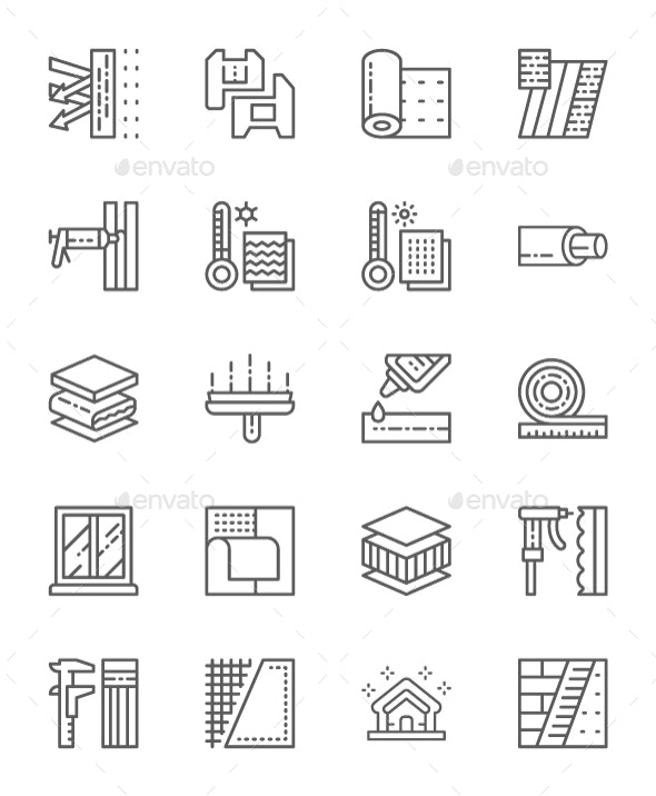 Set Of Insulation Line Icons. Pack Of 64x64 Pixel Icons - Objects Icons