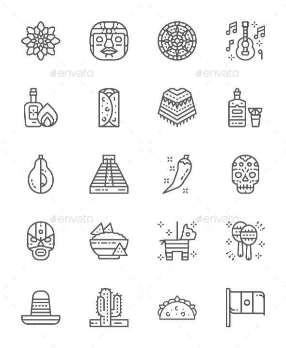 Set Of Mexican Culture Line Icons. Pack Of 64x64 Pixel Icons - Objects Icons