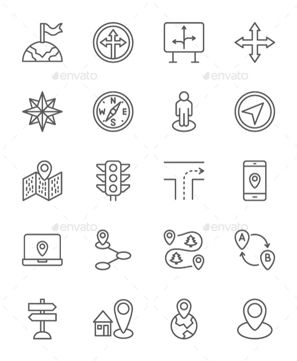 Set Of Navigation Line Icons. Pack Of 64x64 Pixel Icons - Technology Icons