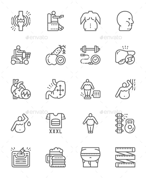 Set Of Obesity And Overweight Line Icons. Pack Of 64x64 Pixel Icons - Abstract Icons